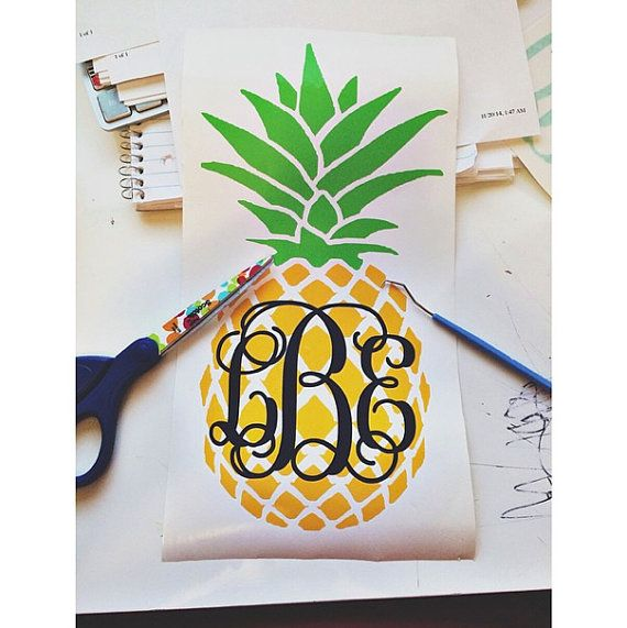 Pineapple Monogram Decal by VIDPrints on Etsy