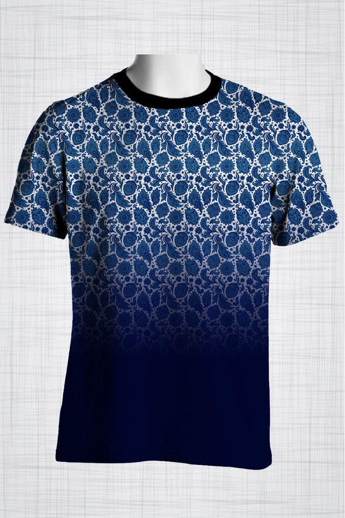 Plus Size Men's Clothing Blue gradient paisley print CC0416 #plussizemensclothing