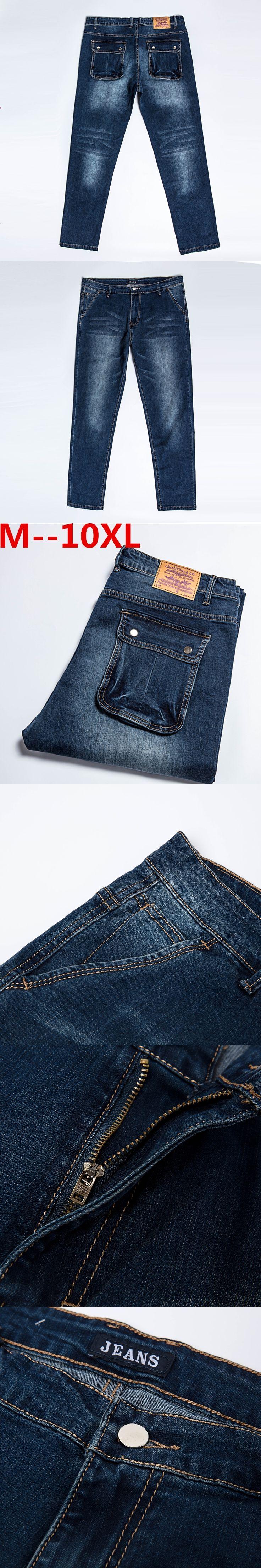 plus size 10XL 8XL 6XL 5XL 4XL Casual Straight Denim Jeans Men Pants Deep Blue Pantacourt Homme Marque Jeans 44 46 48 50 Big