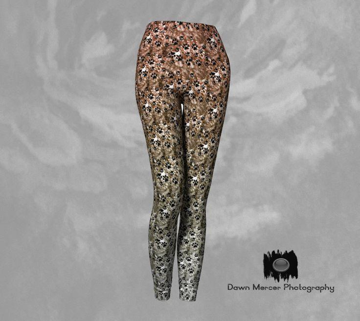 Paw Print Leggings, Dog Paw Art Leggings, Earth Toned Fashion Yoga Tights, Doggy Paw Print Leggings Artist Designed Custom Printed by DawnMercerPhoto on Etsy