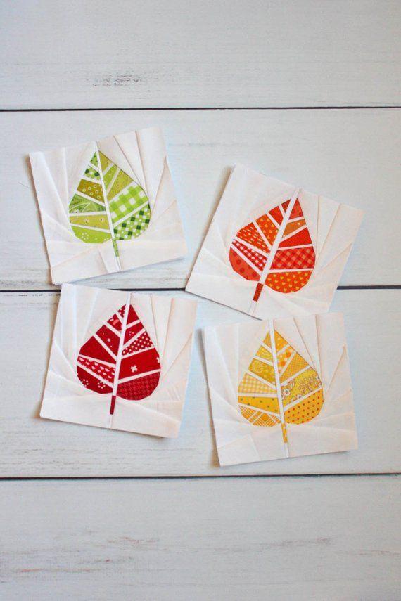 Geometric Leaf Foundation Paper Piecing Fpp Quilt Block