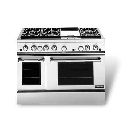 Gas-only update. If you can live without an electric oven and adjustable feet, Jenn-Air's 48-inch Pro-Style gas range has the same features, with almost the same oven capacities. About $6,399 (not including backsplash); Jenn-Air