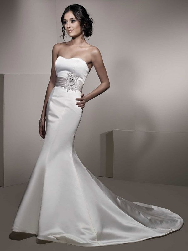 Trumpet / mermaid strapless chapel train glamorous satin with beading wedding dress!