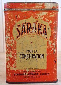 Antiquité 1940 Collection. Ancienne boîte de médicaments en fer.