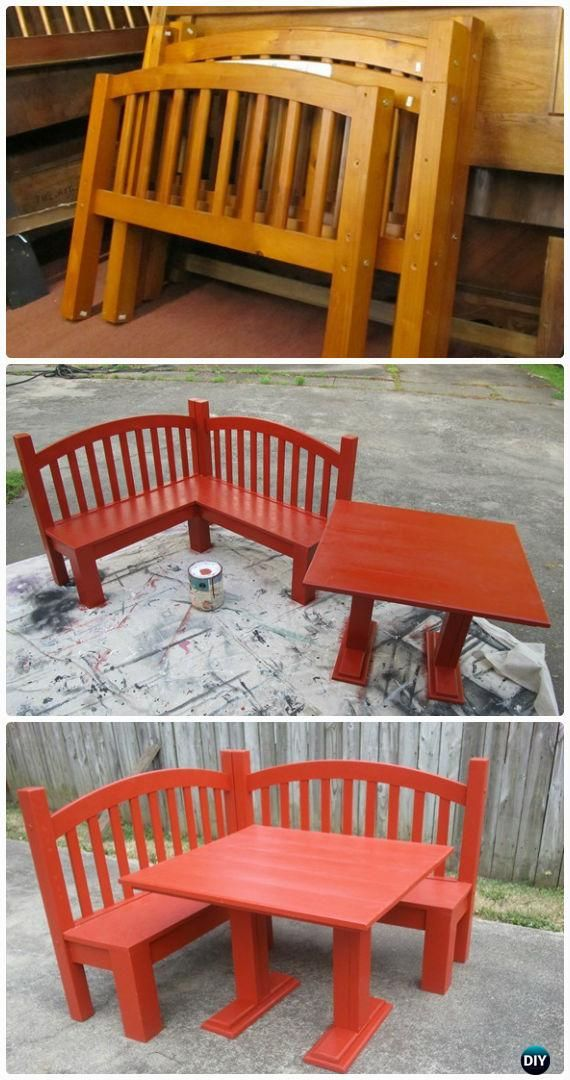 DIY Headboard Kids Corner Bench Instructions - Back-To-School Kids #Furniture DIY Ideas Projects