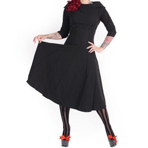 Zwart Marla Jackie O stijl vintage, 50's, rockabilly, retro jurk - XXXL/NL46…