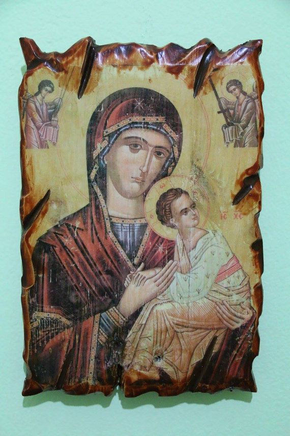 Blessed Virgin Mary. Handmade in Hellas-Greece. Dimensions: 7,85 × 11,80 inches/ 20 × 30 cm