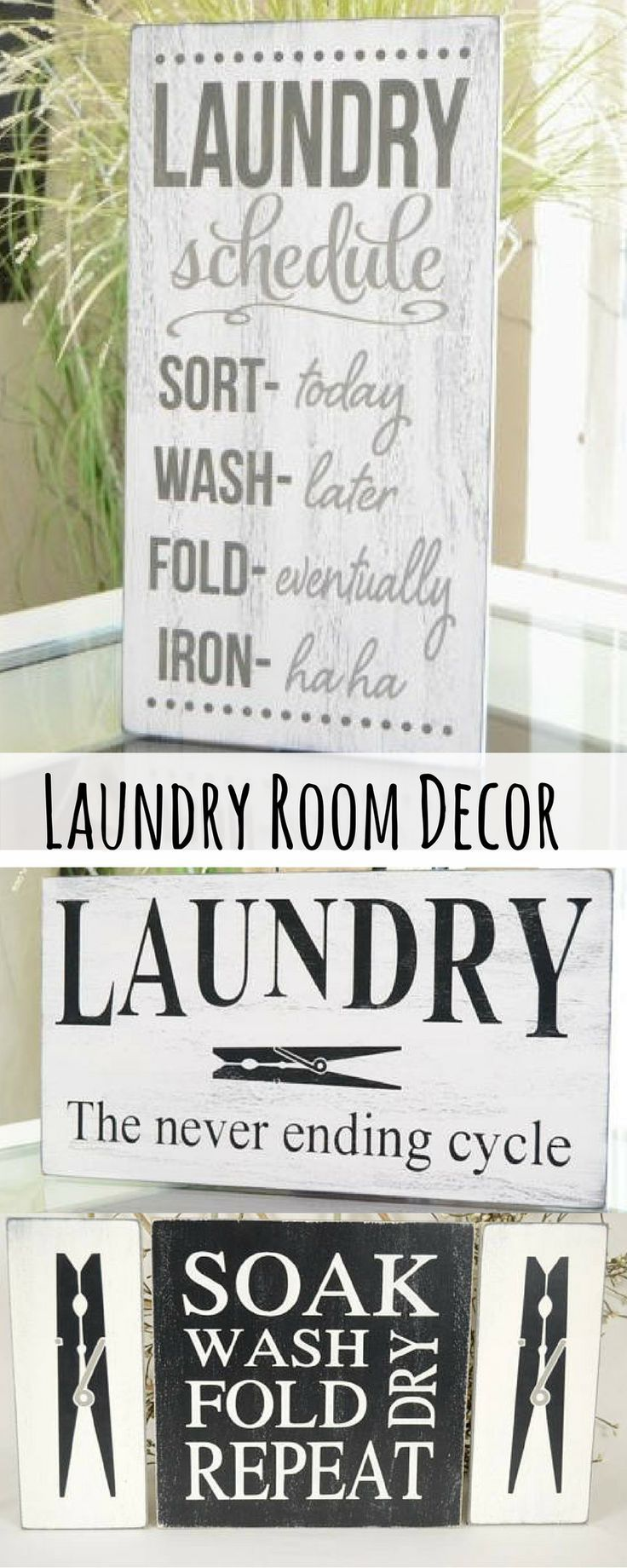 I love these signs for laundry decor. Especially the laundry schedule!! They're rustic and charming. It's a room I spend 90% of my life in, it should be decorated! #commissionlink #rustic #laundry #laundryroom #homedecor #home