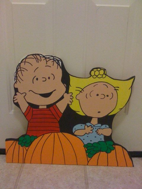 Peanut's Linus and Sally Great Pumpkin Halloween Yard Art Decoration. cute idea