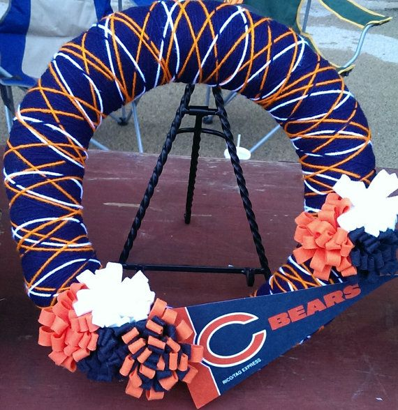 Chicago Bears Fan Yarn Wreath 14 inches on Etsy, $25.00