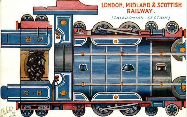 British Postcard With A Locomotive Paper Model By Tuck DB