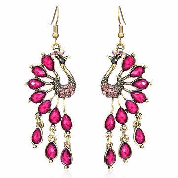 Vintage Peacock Crystal Rhinestone Tassel Earrings Jewelry at Banggood