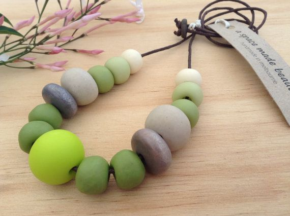 Handmade clay bead necklace by ASpaceMadeBeautiful on Etsy, $58.00