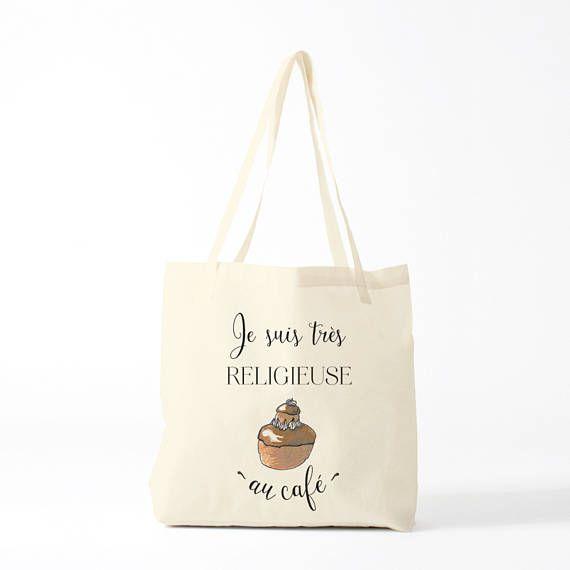 Tote bag humour Je suis très religieuse au café , citation, par Bambouchic Paris