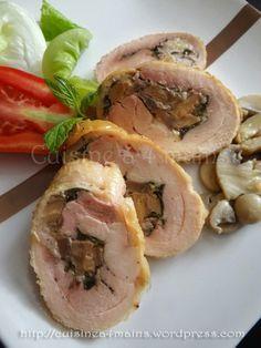 Cuisses de poulet désossées et farcies aux champignons | Cuisine à 4 mains
