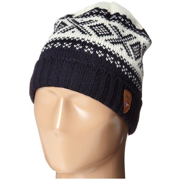 Dale of Norway Cortina 1956 Hat (Navy/Off White) Knit Hats (€66) ❤ liked on Polyvore featuring accessories, hats, navy blue knit hat, dale of norway hat, roll up hat, knit hat and dale of norway