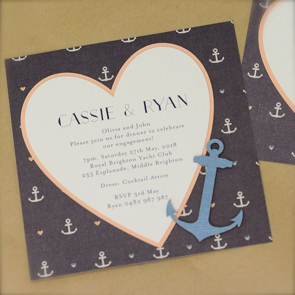 Aren't these nautical inspired invitations just adorable? We can't get enough of them. The laser cut anchors are such a sweet embellishment! www.thepaperempire.com.au