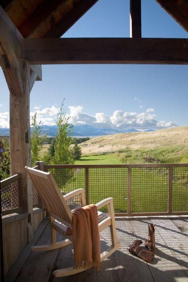 Restful outdoor porch in Montana: Channels Ranch