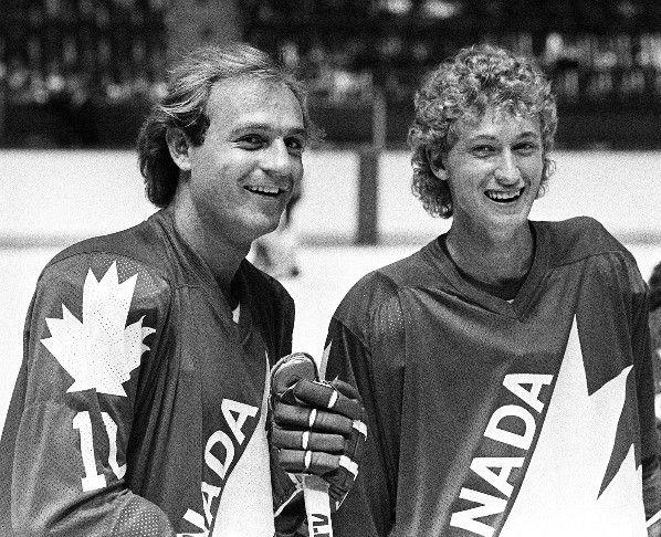 Montreal, 1981 - Guy Lafleur and Wayne Gretzky are seen here during a break in their first day of training camp for Team Canada at the Montreal Forum.