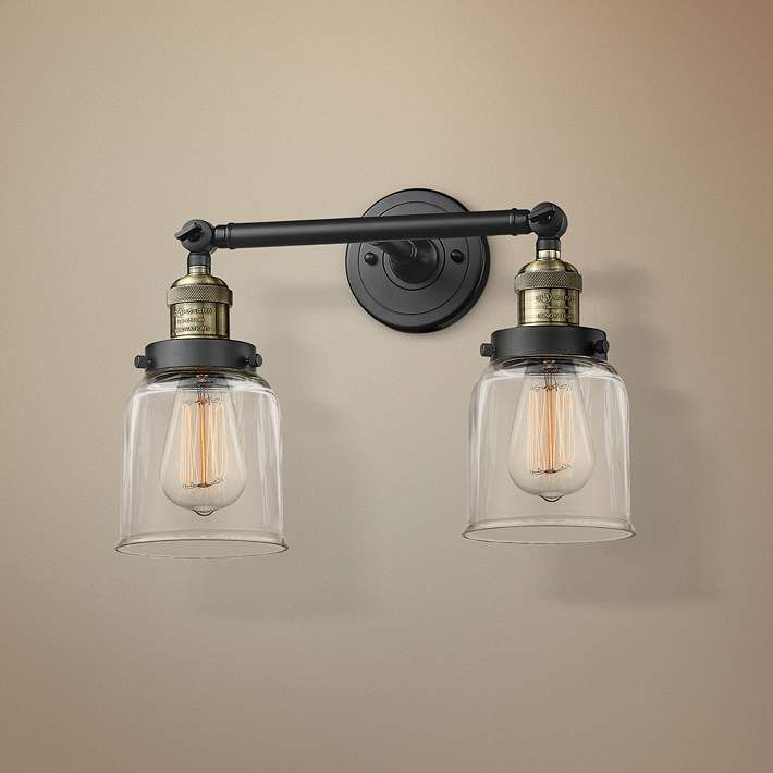 Small Bell 10 H Black And Brushed Brass 2 Light Wall Sconce 40x02 Lamps Plus Wall Sconce Lighting Sconces Wall Lights