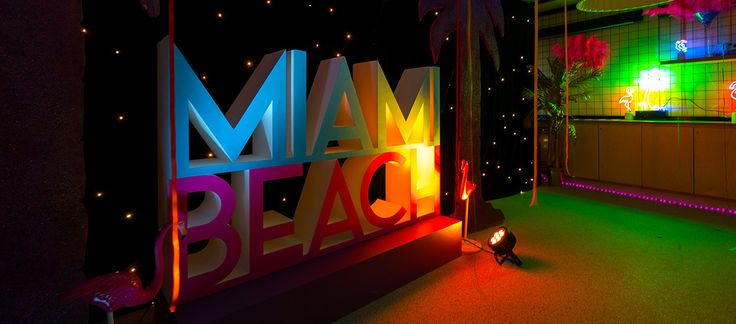 giant miami beach letter photo op wall for a miami theme event