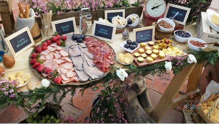 Mesa de quesos vintage r stico boda recepci n - Mesa de quesos para bodas ...