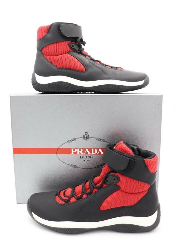 45df3dc959 Prada Black Red Punta Ala America s Cup Ankle Strap High-Top Sneakers Shoes  10.5  PRADA  FashionSneakers