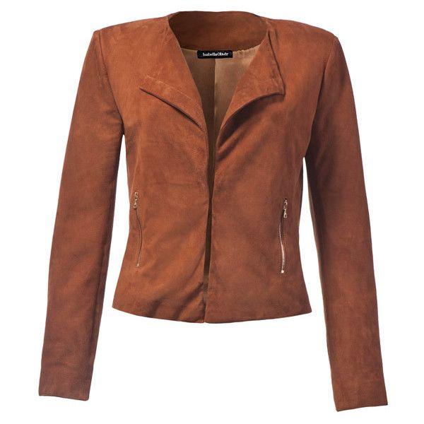 Baukjen Everyday Suede Jacket ($475) ❤ liked on Polyvore featuring outerwear, jackets, coats & jackets, suede leather jacket, cropped suede jacket, brown suede jackets, brown jacket and suede jacket