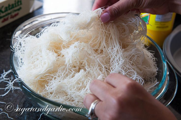 Pull the strands of Kataifi Pastry apart to loosen