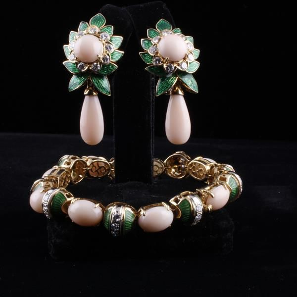 """Retro Yellow Gold 18K Angel Skin Coral, French enamel and Diamond foliate SET; Bracelet and Earrings. Bracelet contains 27 diamonds, Approx 1.6ct.tw. Earrings with approx. 1.25ct.tw. 7""""  1/4"""" widest point"""
