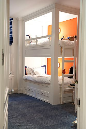 beautiful built-ins...: Shared Kids Rooms, Bunk Beds, Interiors, Boys Rooms, Builtin, Bunk Rooms, Guest Rooms, Built In Bunk, Accent Wall