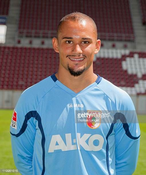 Mohamed Amsif poses during the FC Augsburg Team Presentation at the SGLArena on July 26 2011 in Augsburg Germany