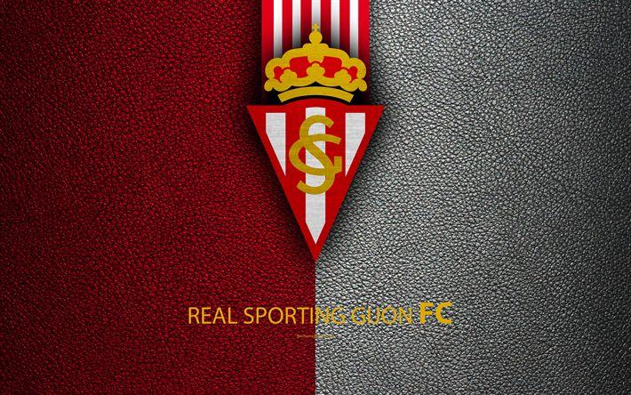 Download wallpapers Real Sporting Gijon FC, 4K, Spanish Football Club, leather texture, Gijon logo, LaLiga2, Segunda Division, Gijon, Spain, Second Division, football