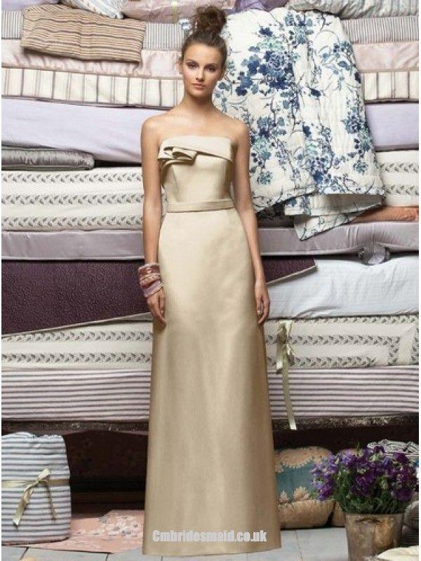2013 sweetheart bridesmaid dress Champagne Column Strapless Lace Up Floor Length Prom Dresses London With Ruffles fashionweddingdress