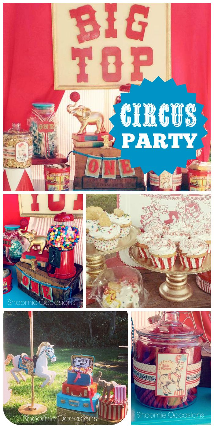 A vintage big top circus girl 1st birthday party with cupcakes and circus animals! See more party planning ideas at CatchMyParty.com!