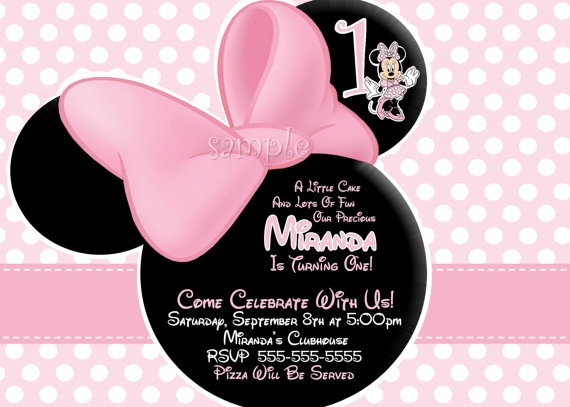 HUGE SELECTION Light Pink Minnie Mouse Invitation