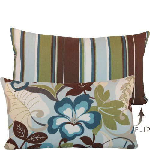 ($30.00) Kona Blend Collection - Designer Outdoor Decorative Throw Pillow Lumbar Cover - Tropical Flowers and Stripes - Blue, Brown, Off White and Green Hues - 1 Cover, 2 Looks From Chloe