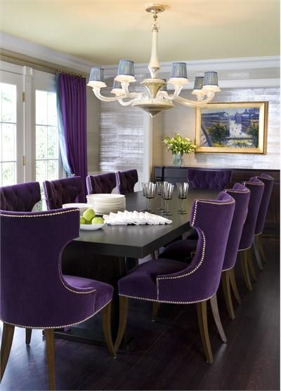 Silver wall paint - Dining Room by Drake Design Associates  http://www.homeportfolio.com/designers/room/39521?utm_source=Objects_Of_Desire_List_medium=1_campaign=nl-dining-goes-bold#