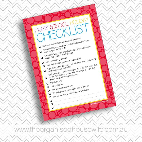 {FREE PRINTABLE} NEW – Mums school holiday checklist and school holiday planner » The Organised Housewife