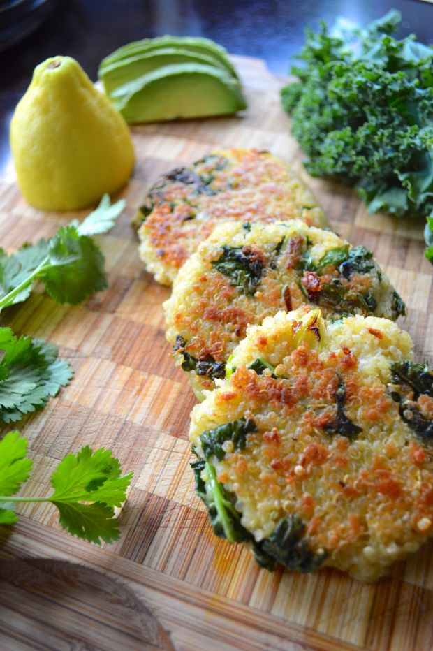 Kale and Quinoa Patties - I added 1 can of mashed chickpeas to make them stick together as we'll as a little flour.  Doubled the cumin.