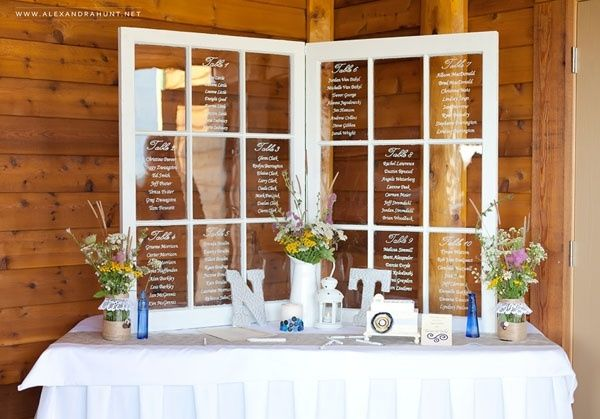 old windows ~ wedding seating chart ~ this could be used for any event that uses a seating chart