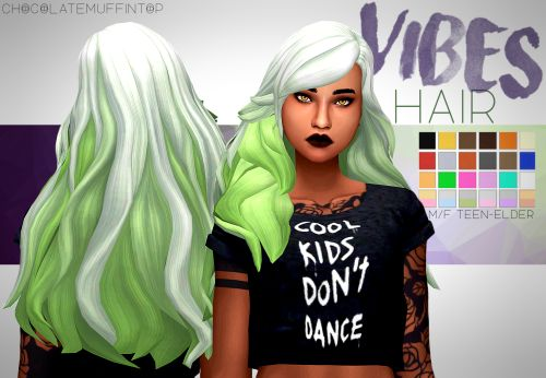 "chocolatemuffintop: ""DOWNLOAD VIBES HAIR (DROPBOX)""kinda halloweeny XD "" • maxis match • +6 ombres • base game • hat compatible • tested in game • enabled for male and female • custom thumbnail • No issues i could find message if any :) • all..."