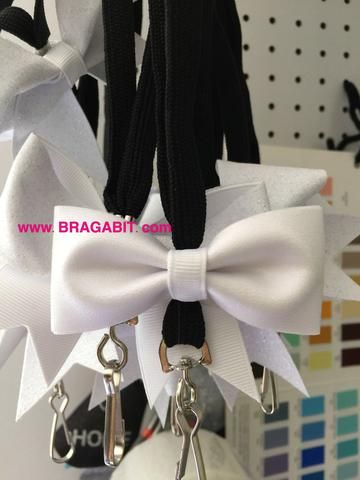 Glitter mini cheer bow lanyard. Available in any color. Check out our color chart page for color reference. - BRAGABIT  - 2