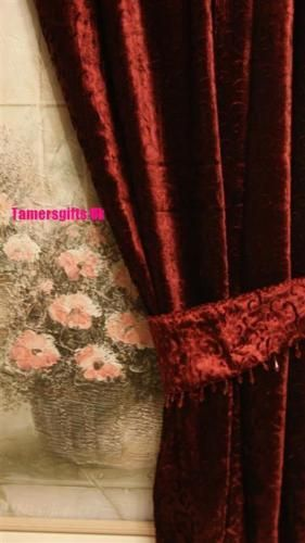 GOLD-RED-LILAC-BROWN-NATURAL-LINED-VELVET-CURTAINS-amp-BEADED-TIE-BACKS