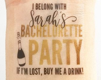 15 Custom Bachelorette Party Temporary Tattoos Glam Gold by LoveAndLion | Etsy