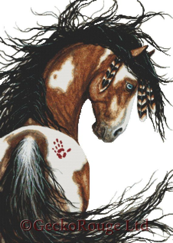 Cross stitch kit by AmyLyn Bihrle Majestic Horse by GeckoRouge #CrossStitch #Mustang #HorseCrossStitch