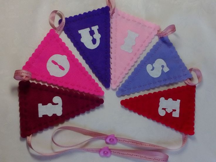 Personalised, Felt Name Bunting, LOUISE, Name Bunting, Name Garland, Pink, Purple, Personalised Bunting, Girls Bunting by DaisyFelts on Etsy https://www.etsy.com/listing/236024801/personalised-felt-name-bunting-louise