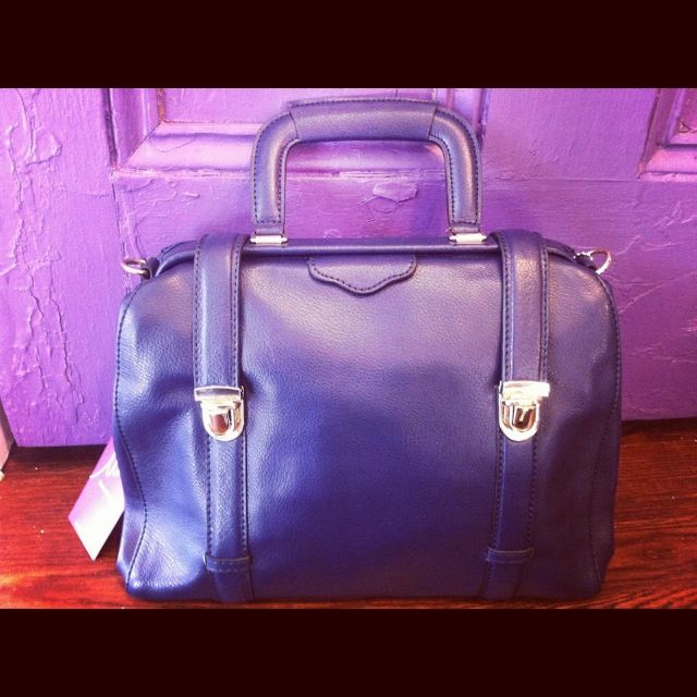 Navy blue Leather Doctors bag. Available at Lucy's Boutique, Elora Ontario.