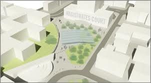 The planned new public square between the new library building and Camberwell Magistrate's Court.