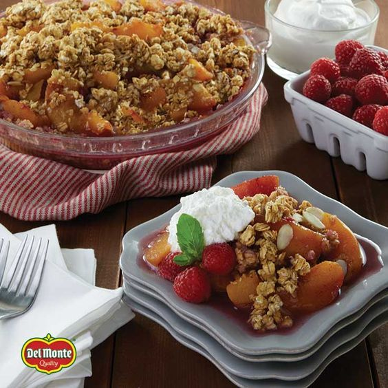 Take our No Bake Peach Crisp and make it melba by topping with tart raspberries. Done in just 15 minutes, this is a quick and delicious dessert you can serve all year long.